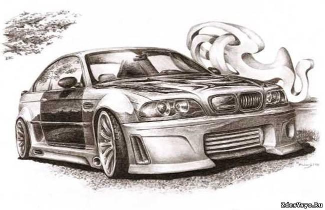 автомобили карандашные картинки красивые