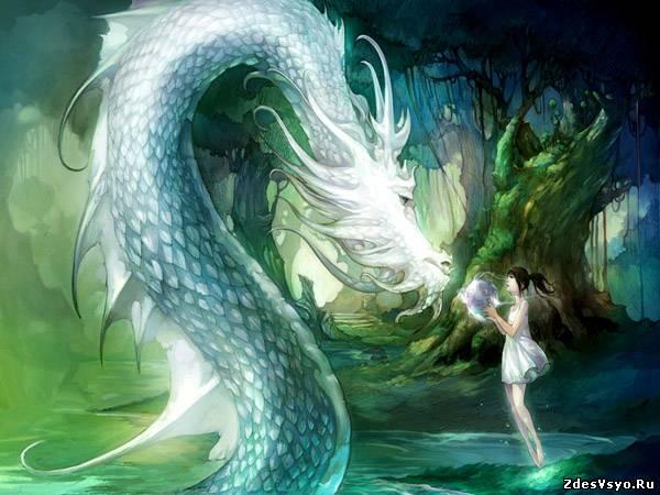 дракон и девушка Картинки, рисунки красивые